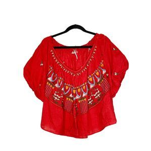 FREE PEOPLE Red Embroidered Blouse Sz L